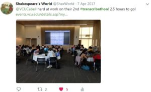 Tweet of a picture taken at VCU's April 2017 transcribathon, in partnership with EMMO.